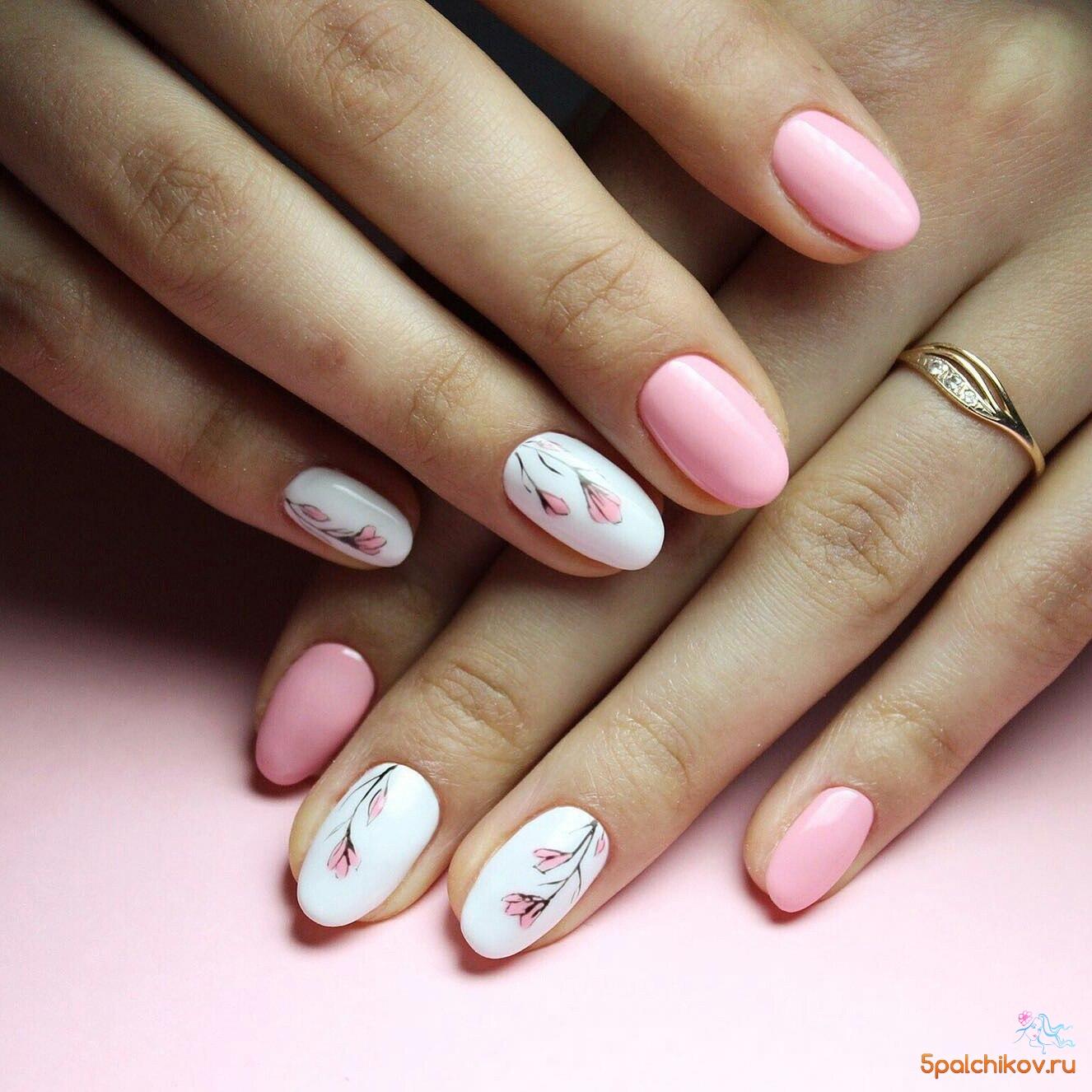 маникюр на овальных ногтях фото