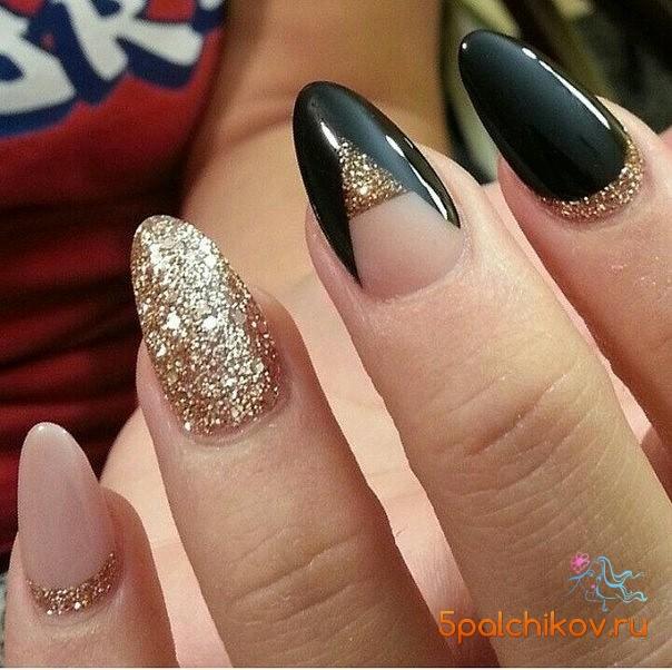 Дизайн ногтей с блестками золотыми