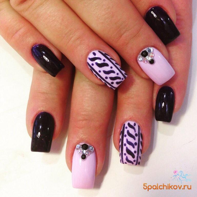 Нарисованный вязаный узор на ногтях - фото дизайна ногтей
