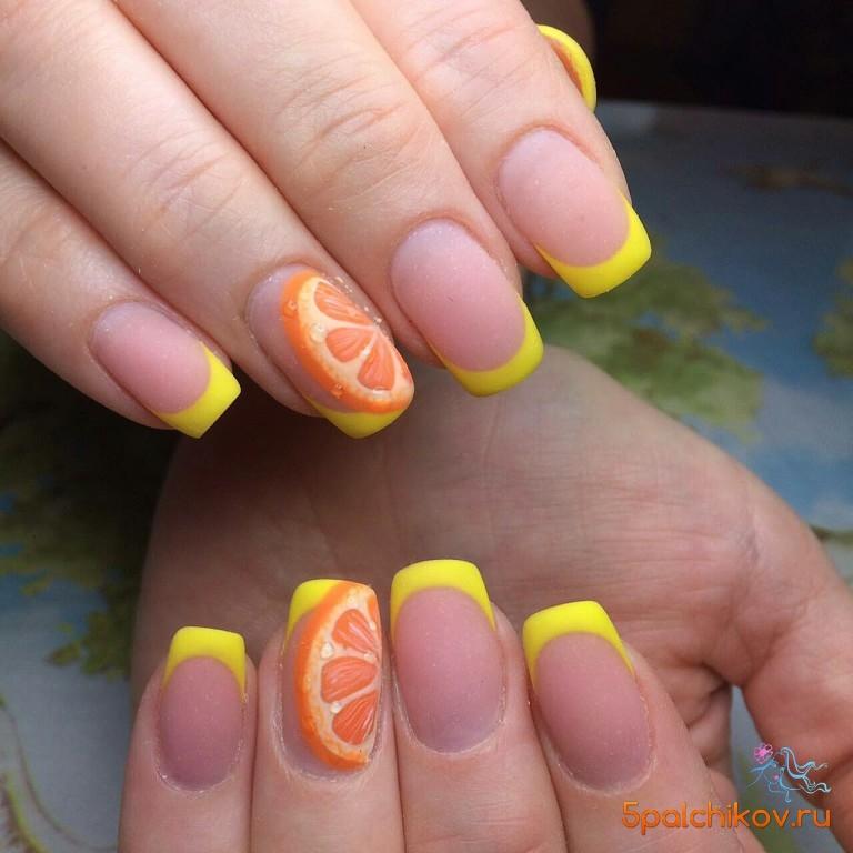 Ногти с лимоном дизайн