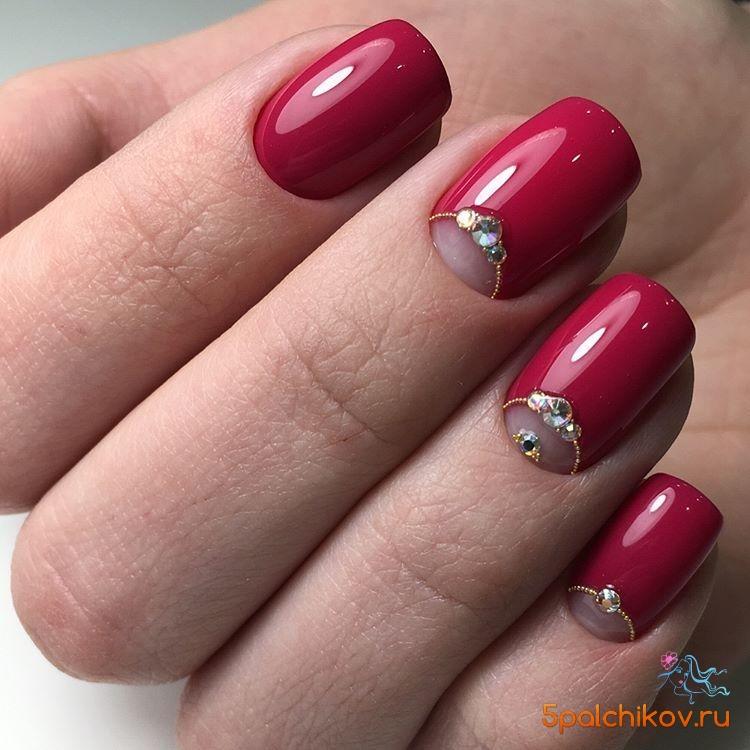 Маникюр гель лаком красный на короткие ногти фото дизайн