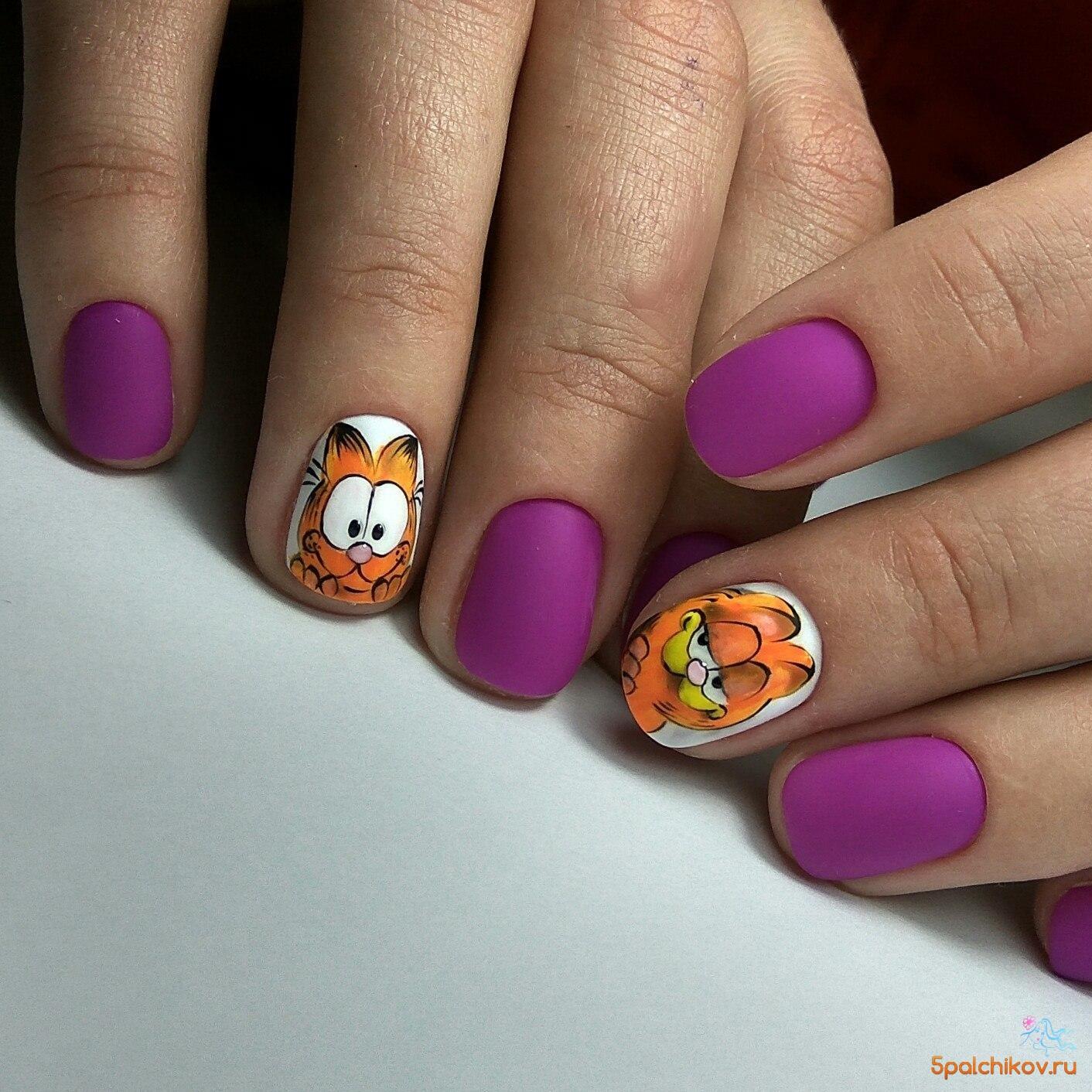Дизайн ногтей. кот