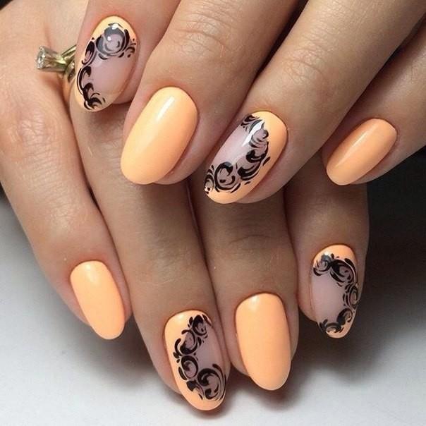 Оранжевый с черным дизайн ногтей