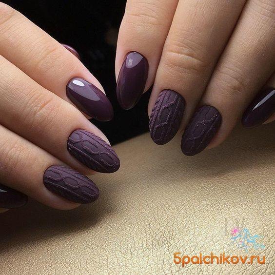 насыщенный фиолетовый вязаный маникюр фото стильного дизайна ногтей