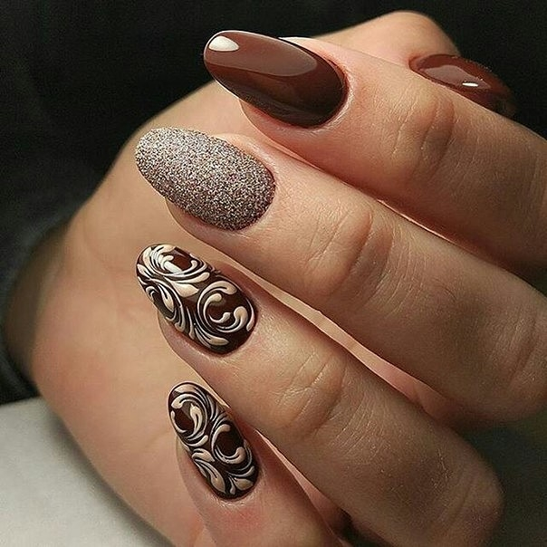Дизайн ногтей коричневые