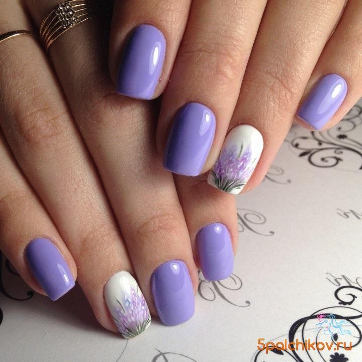 Дизайн с лавандой ногти