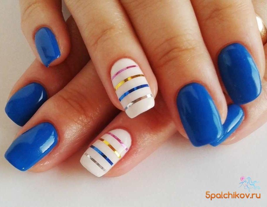Дизайн ногтей красные с синим 57