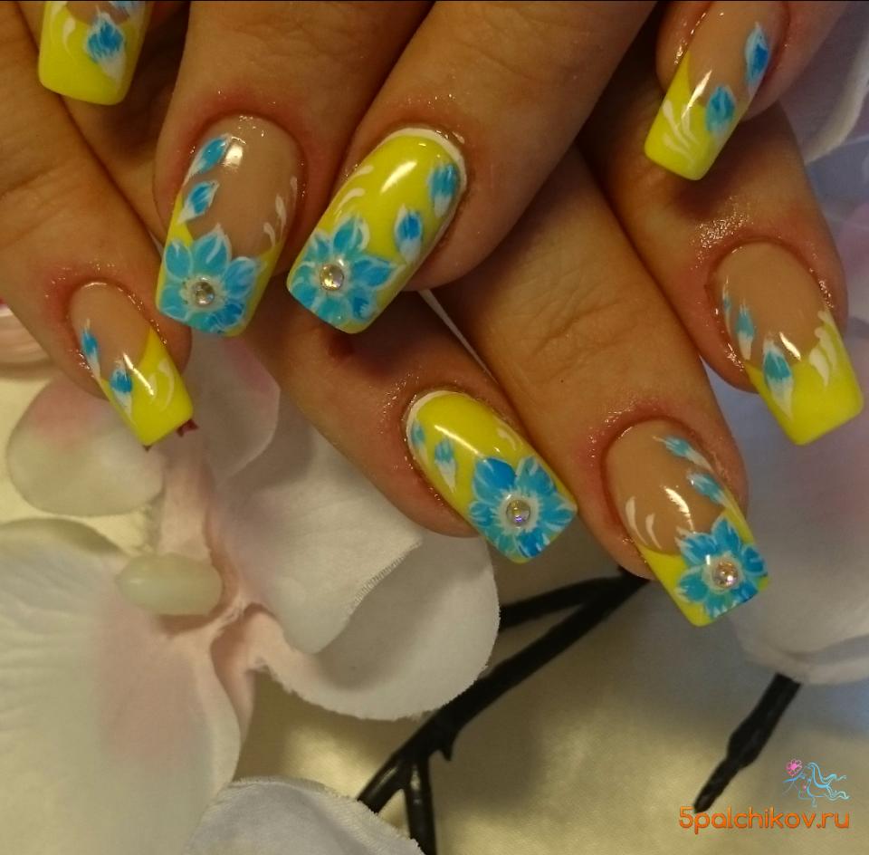 Дизайн ногтей жёлтый френч