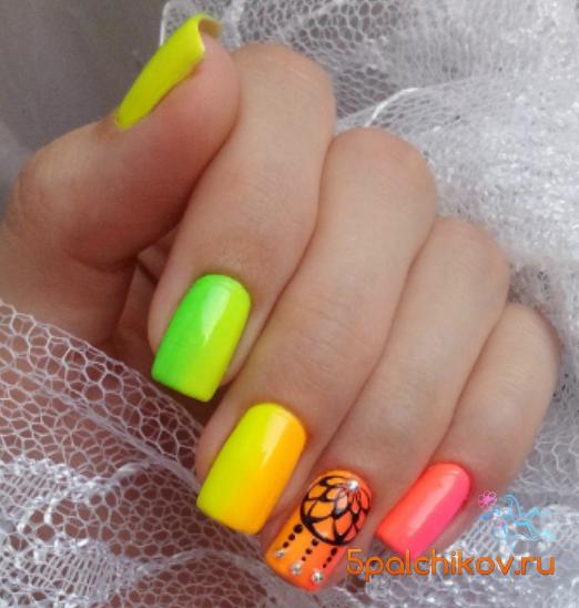 Неоновые ногти дизайн фото