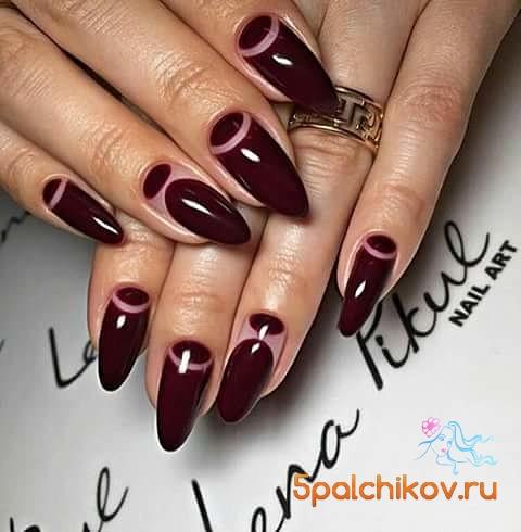 Бордовый ногти дизайн фото
