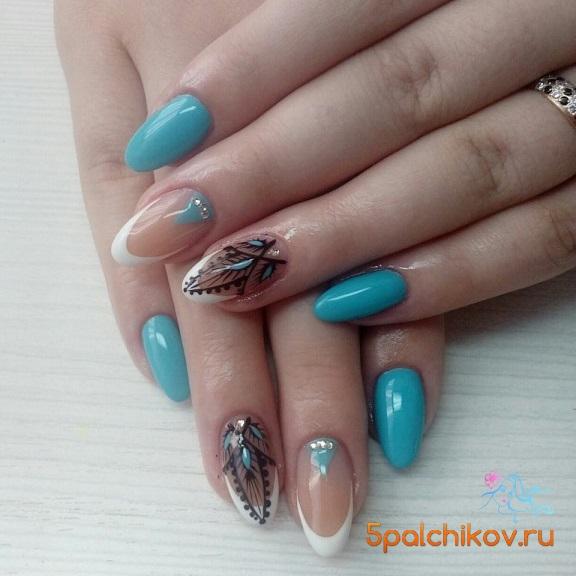 Ногти цвет морской волны